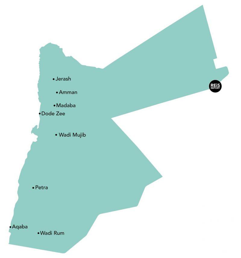 rondreis jordanie kaart hoogtepunten