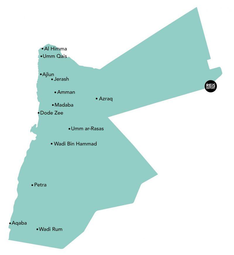 rondreis jordanie op de kaart