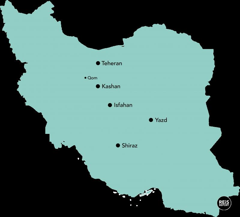 route iran kaart
