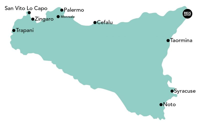 sicilie rondreis kaart