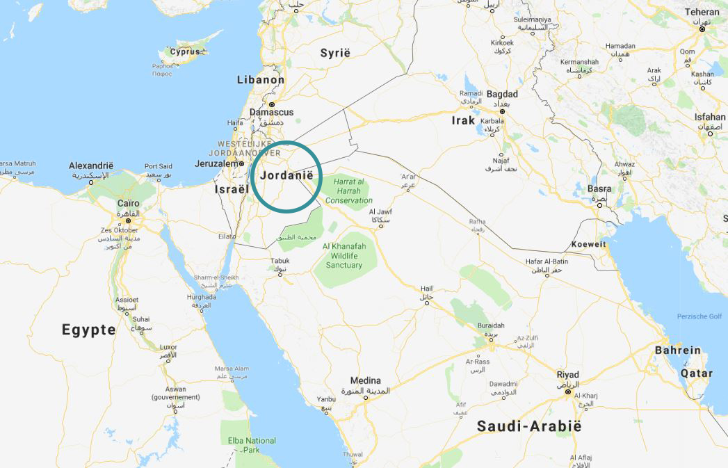 jordanië op de kaart