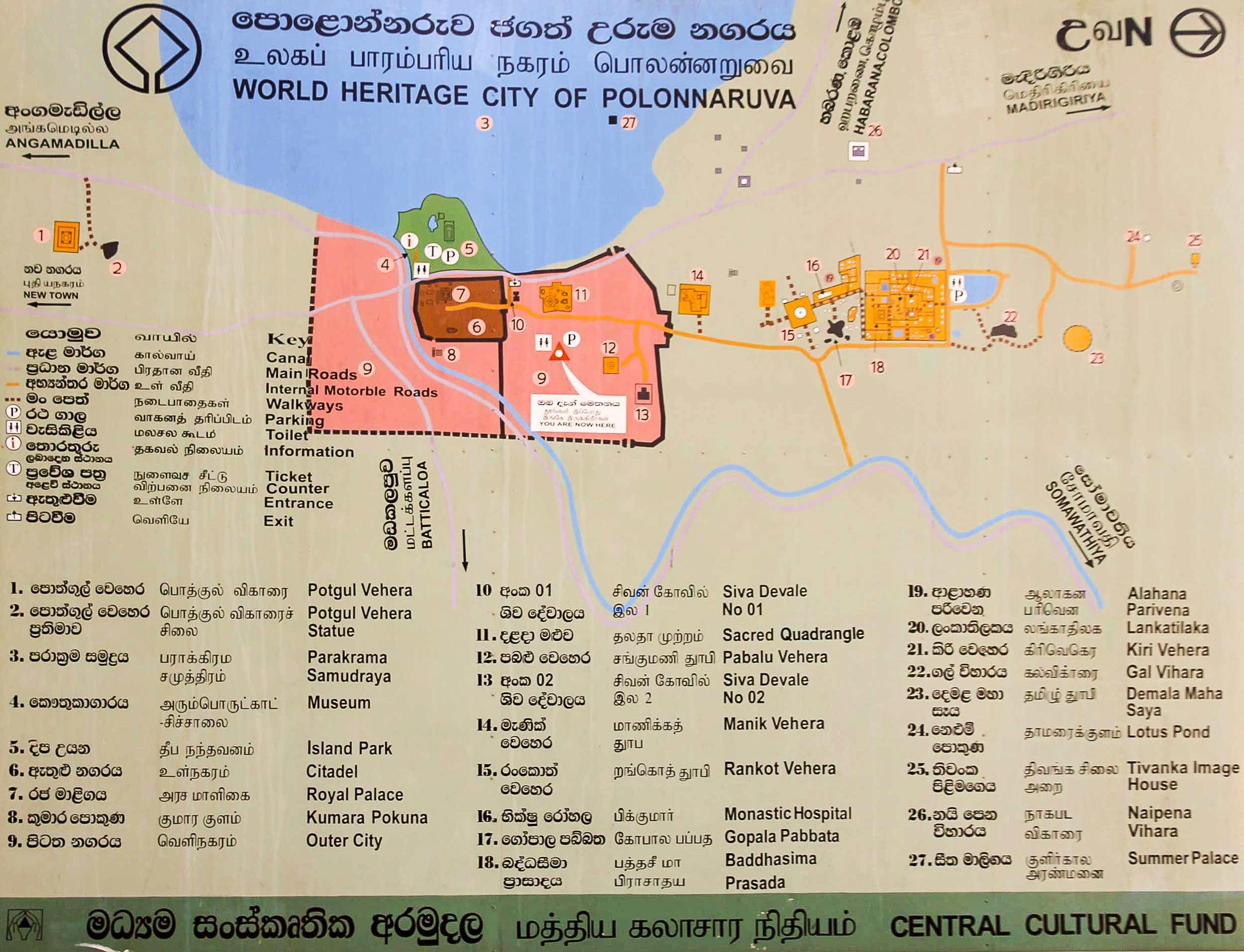 polonnaruwa kaart tempels