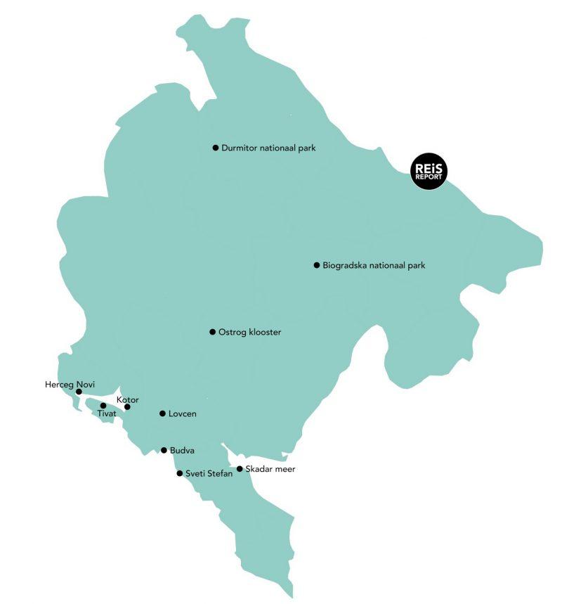 montenegro route kaart